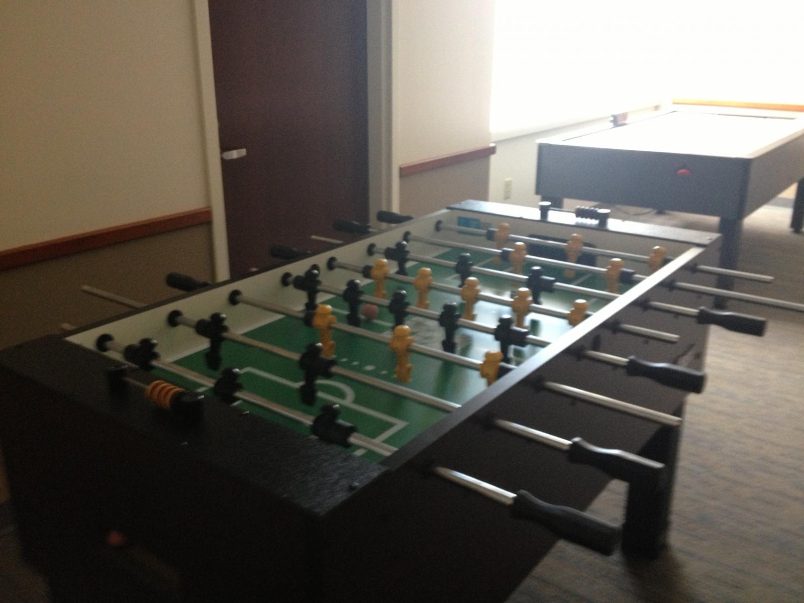 Take a break with foozball and pool tables